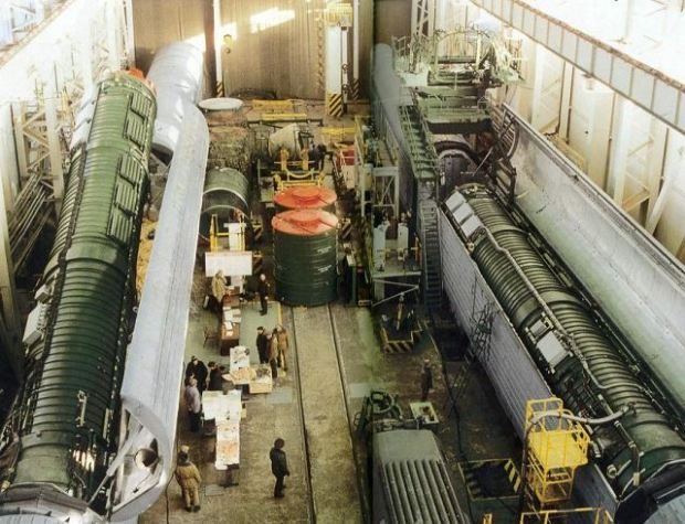 The loading of an RS-22 missile in rail-mobile launcher