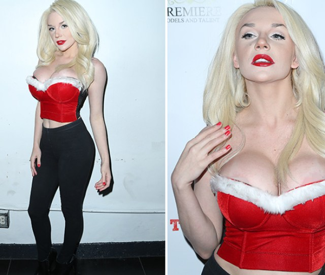 Courtney Stodden Flashes Giant Cleavage And Narrowly Avoids Nip Slip As She Transforms Into Sexy Mrs Claus