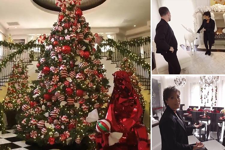 Kris Jenner Invites Fans Inside Festive Candyland Chic Kardashian Mansion Complete With Huge Tree And Shiny Red Bear