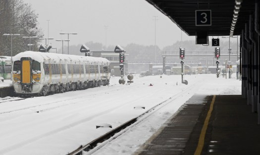 Chilly commute: The weather in the UK has dropped as low as -10C in some areas