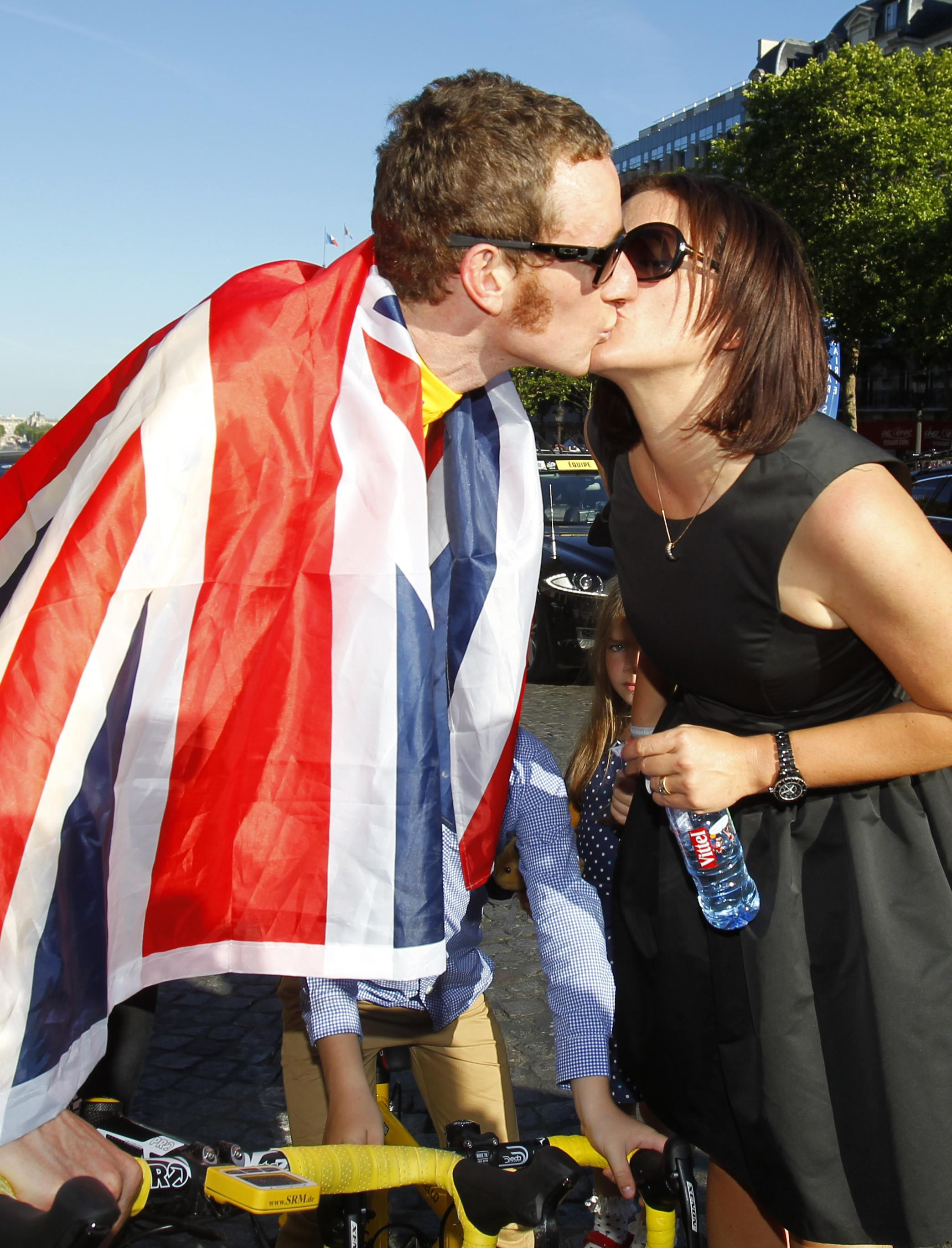 Wiggins and his wife Cathy following his 2012 Tour de France victory