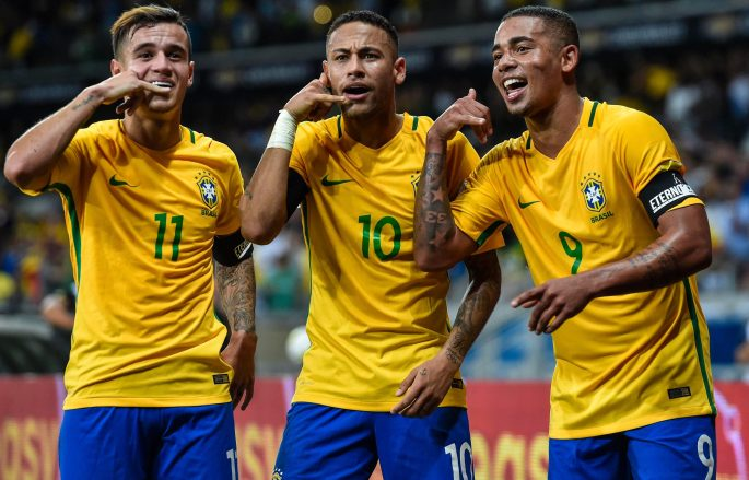 Philippe Coutinho, Neymar and Gabriel Jesus celebrate while on international duty with Brazil