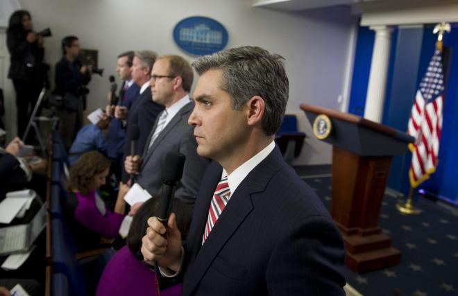 CNN's Jim Acosta was quickly  'shutdown' by Mr Trump