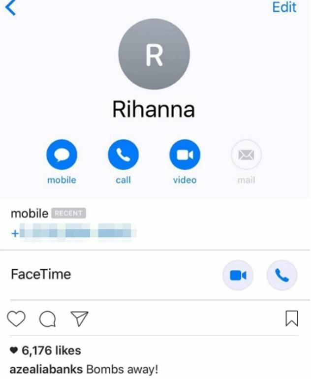 Azealia posted Rihanna's number online with the caption 'Bombs Away!'
