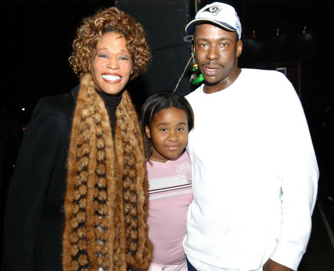 Whitney Houston, daughter Kristina and Bobby Brown in November 2003
