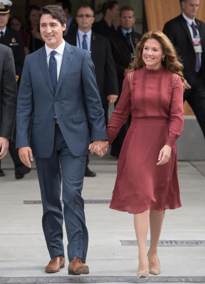 Canadian PM Justin Trudeau with his wife Sophie Gregoire, who he met when he was a child but reconnected in 2003