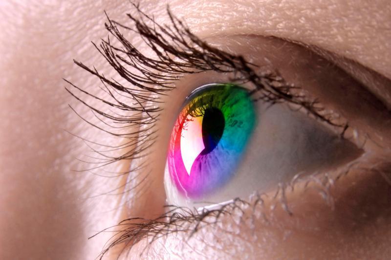 Ojo humano apreciando colores