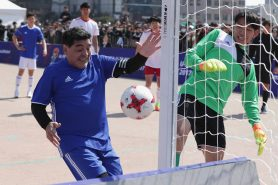 "Image result for Maradona recreates ''hand of God"" moment in South Korea"