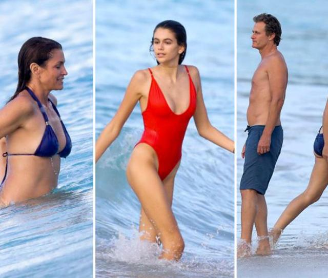 Cindy Crawford 51 Shows Off Her Supermodel Body As She Joins Lookalike Daughter Kaia Gerber For Family Beach