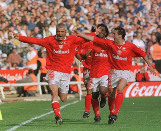 The White Feather scores in the 1997 League Cup final v Leicester