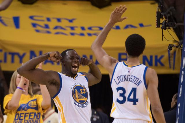 Draymond Green celebrates during Golden State's win over Portland in the playoffs