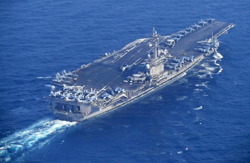 The Nimitz-class U.S. Navy aircraft carrier USS Carl Vinson sailing towards the Korean coast this morning