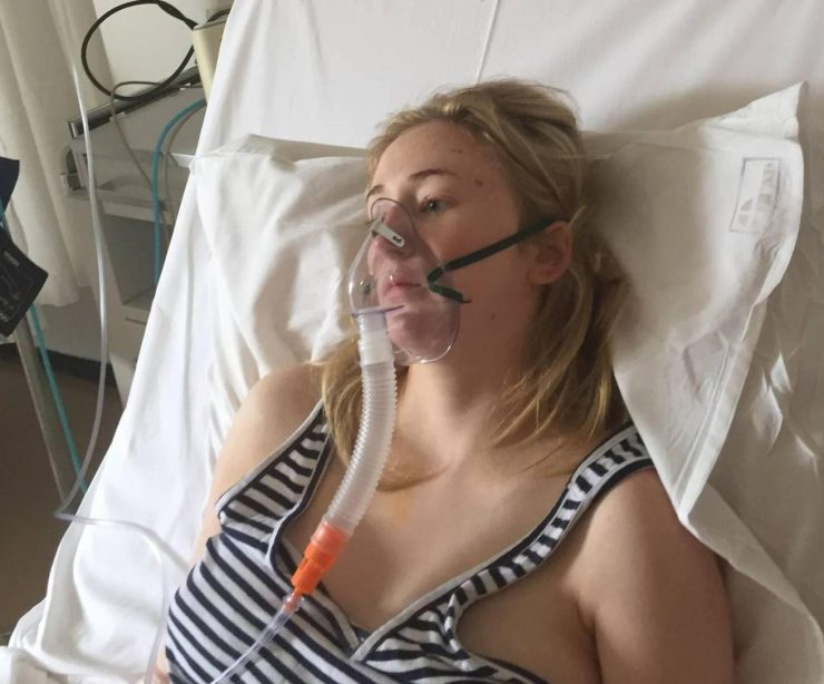 Fighting for life . . . Hannah hooked up to a ventilator after the dodgy booze