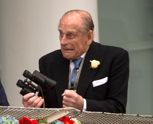 Prince Philip at the Epsom racecourse in 2013