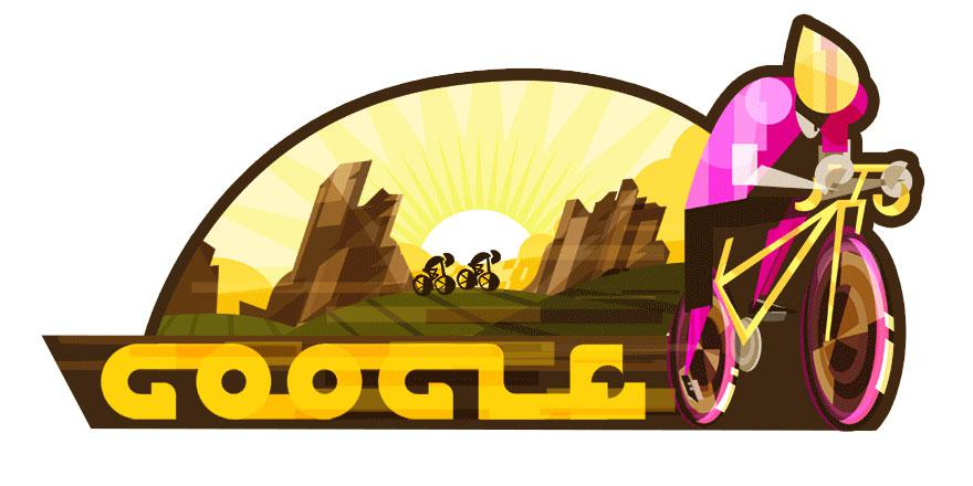 The Google Doodle today (May 5) shows cyclists navigating through mountains