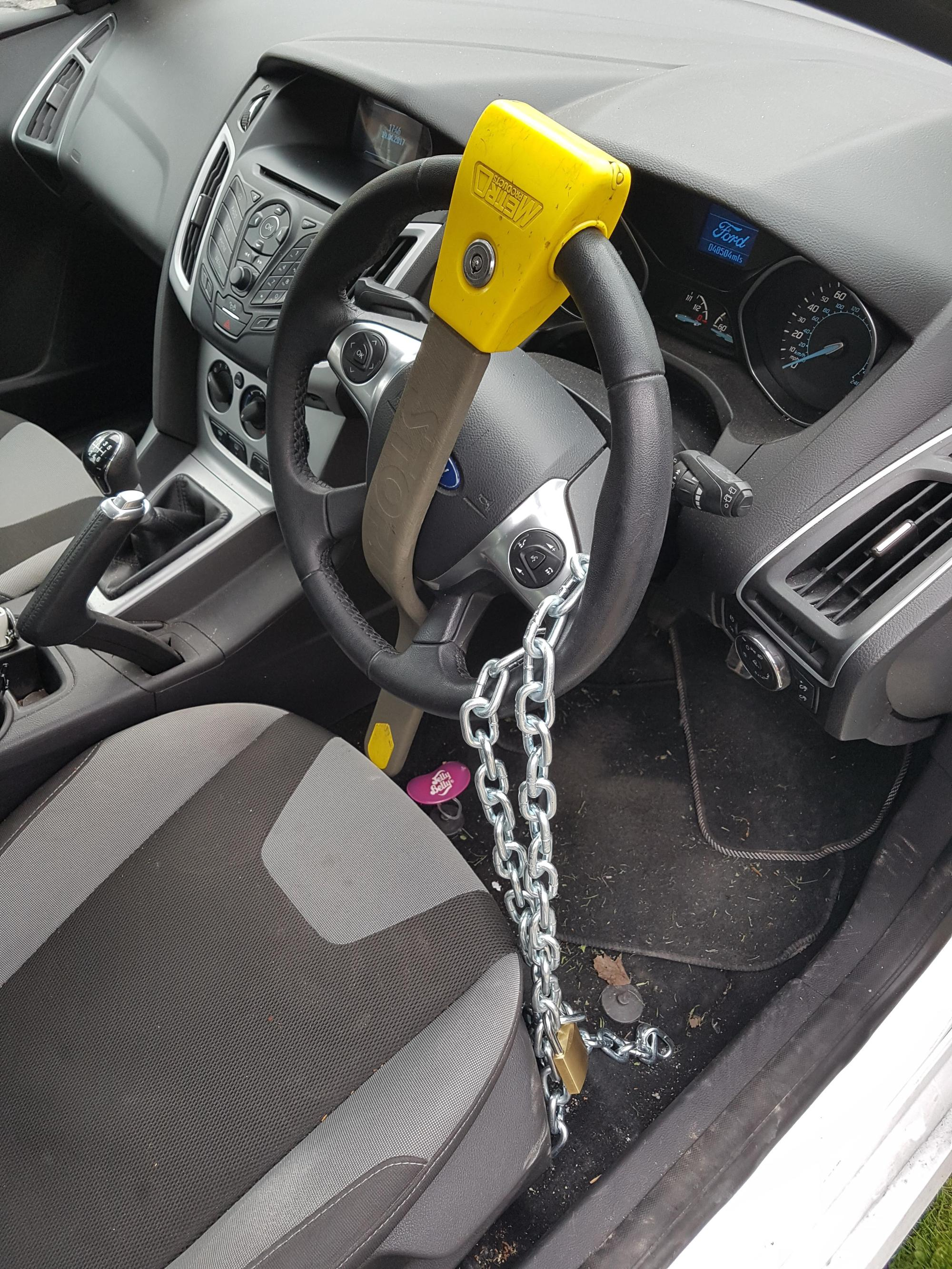 hight resolution of matt smith has started to take extreme safety measures including chaining up his steering wheel