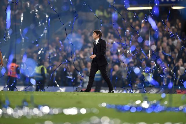 Antonio Conte celebrates after winning the title with Chelsea in first season