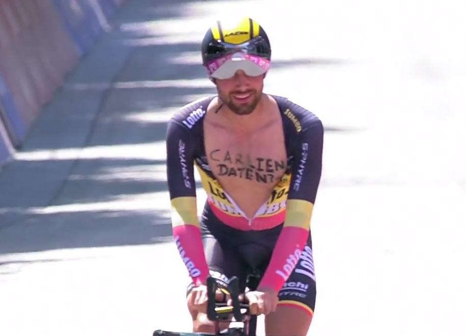 And the Belgian undid his jersey again in the home stretch of the stage