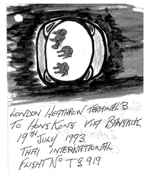 A sketch of a UFO sighting from a flight from Heathrow which was released in 2013