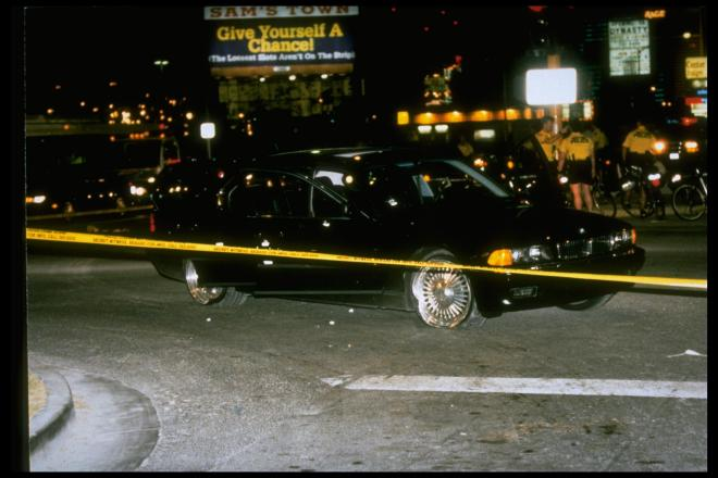 The bullet-ridden car Tupac and Knight were travelling in when the rapper was gunned down