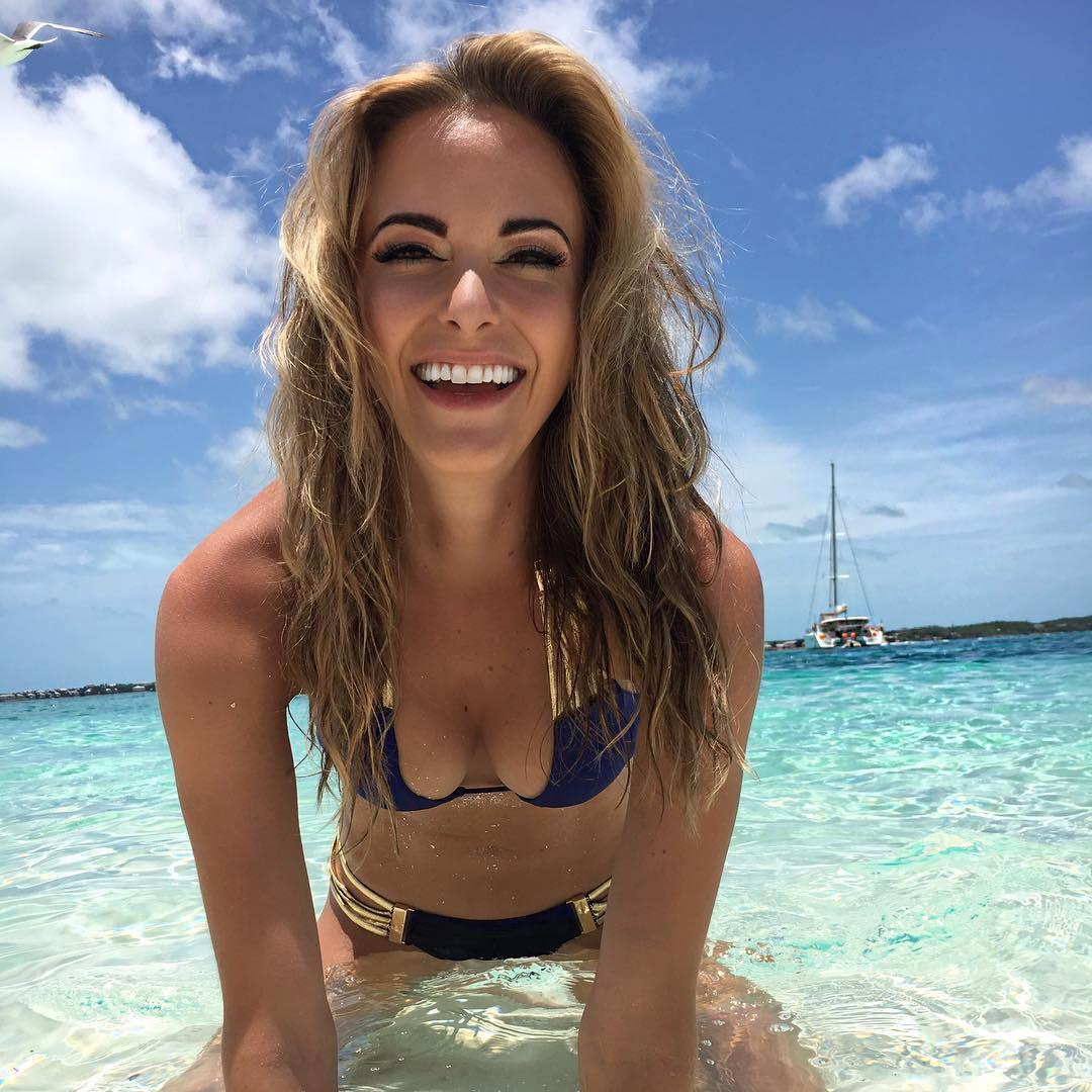 Jena Sims stole the show after the final round at the US Open where her boyfriend Brooks Koepka cruised to victory