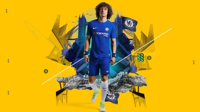 Chelsea ace David Luiz poses in the new home jersey