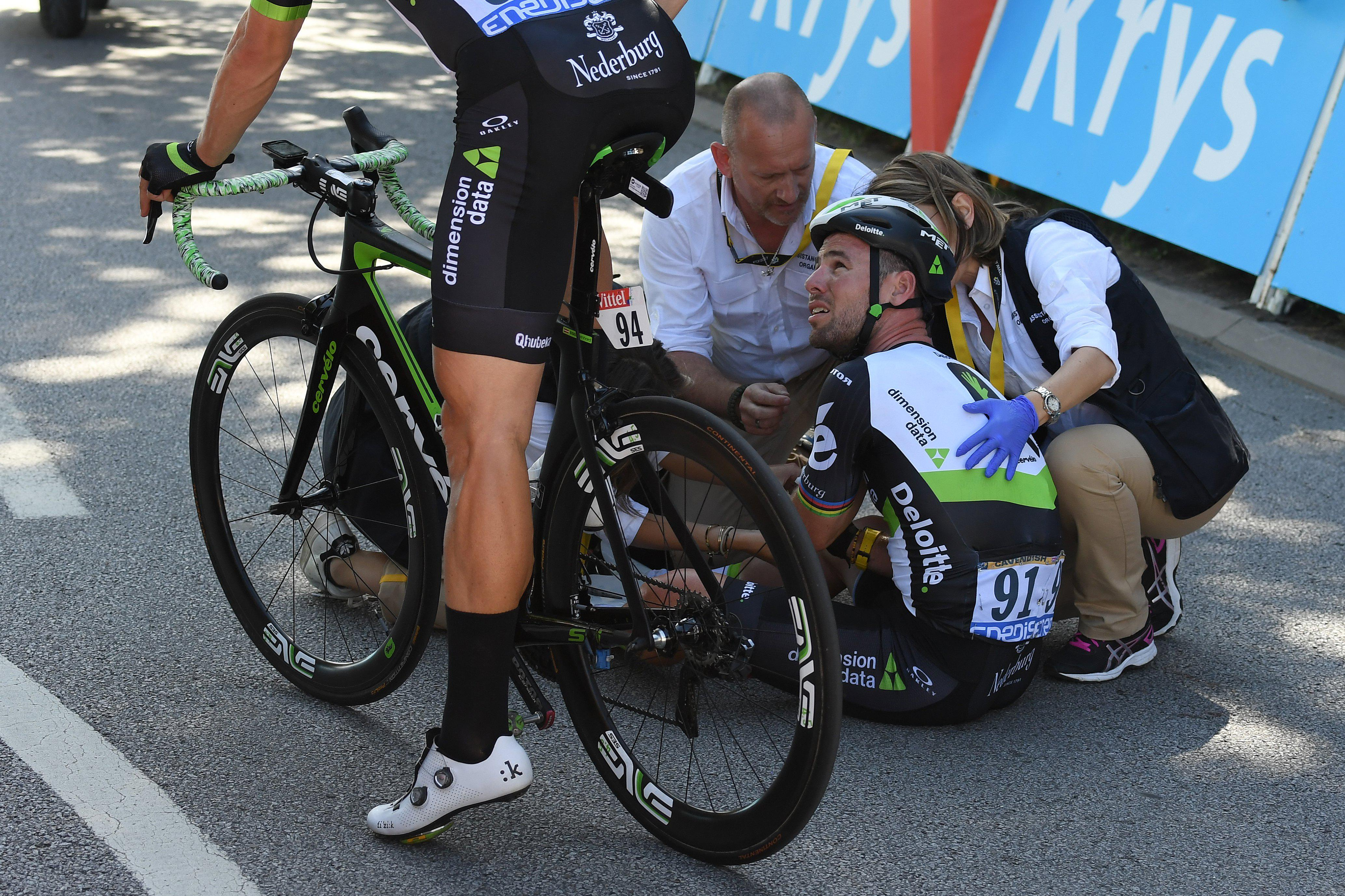 Mark Cavendish was forced to quit the Tour after the crash