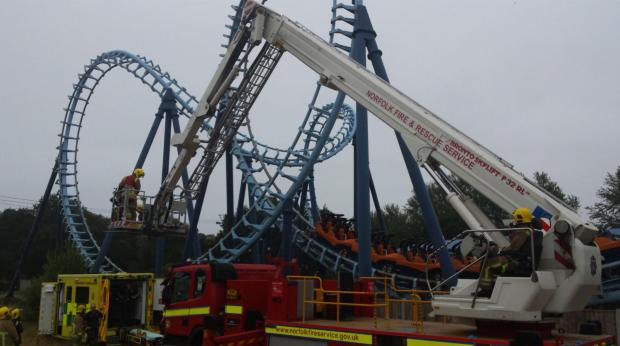 Fire crews shared a photograph of helping rescue a man from the ride