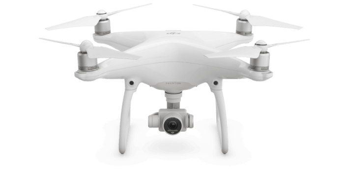 A DJI Phantom 4 drone, which the dog drone is based on