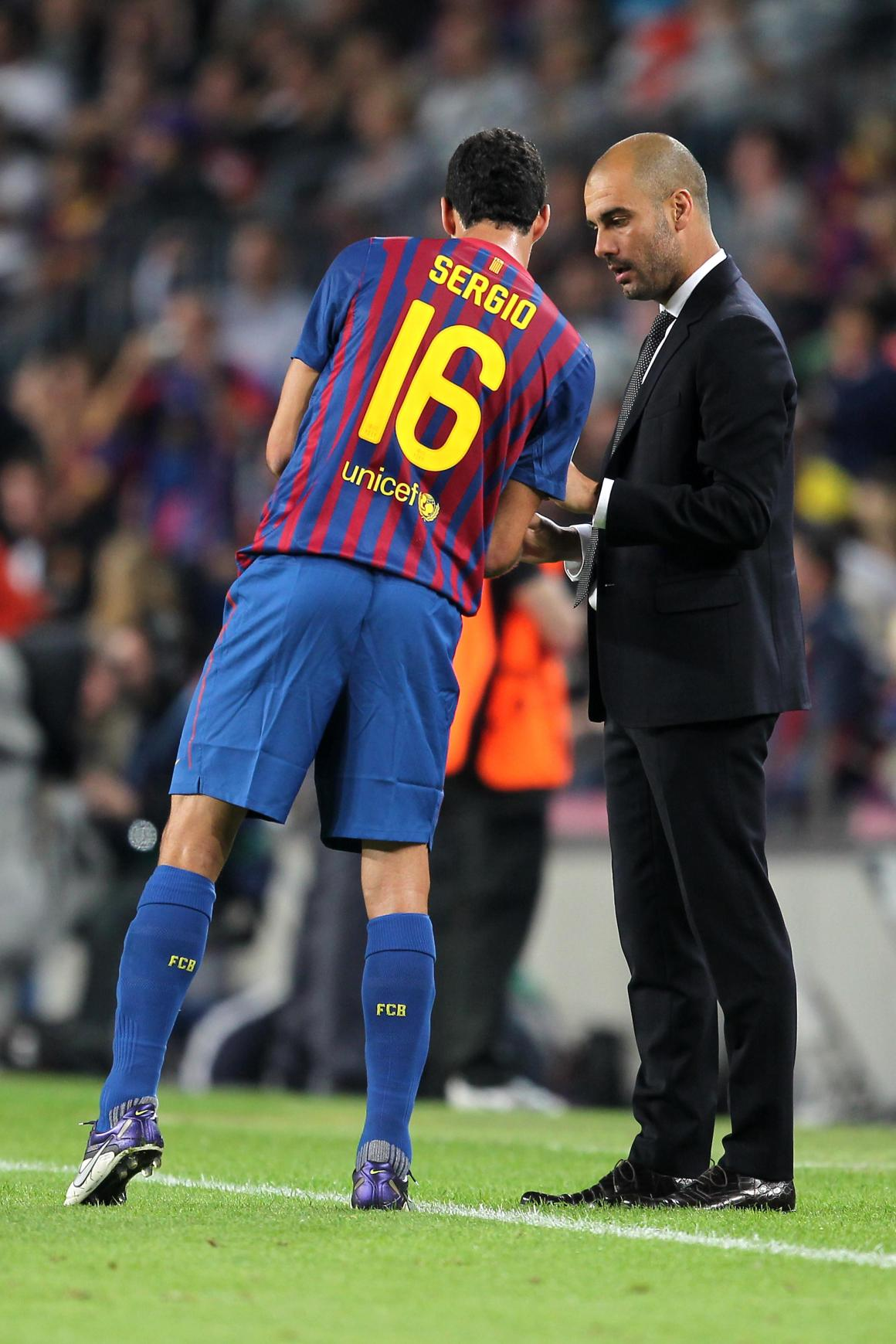 Manchester City boss Pep Guardiola enquires about the availability of Barcelona's Sergio Busquets