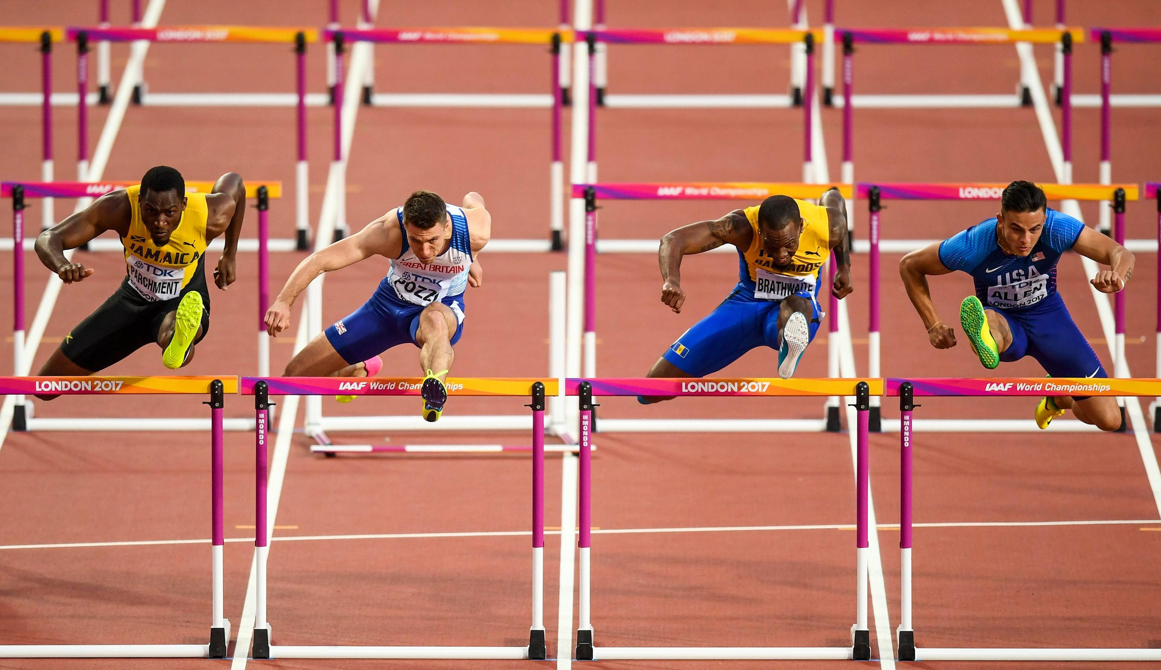 Pozzi sent the penultimate hurdle crashing to the floor to cost him vital speed