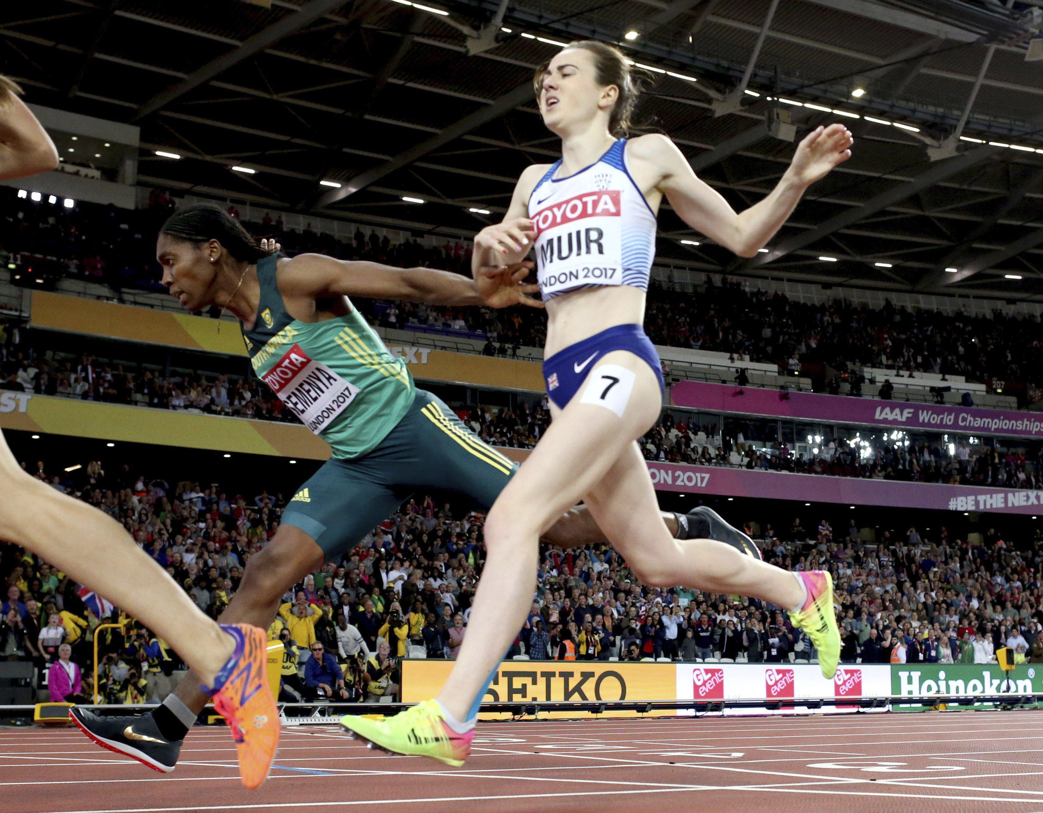 Caster Semenya dives for the line and just gets up for the bronze