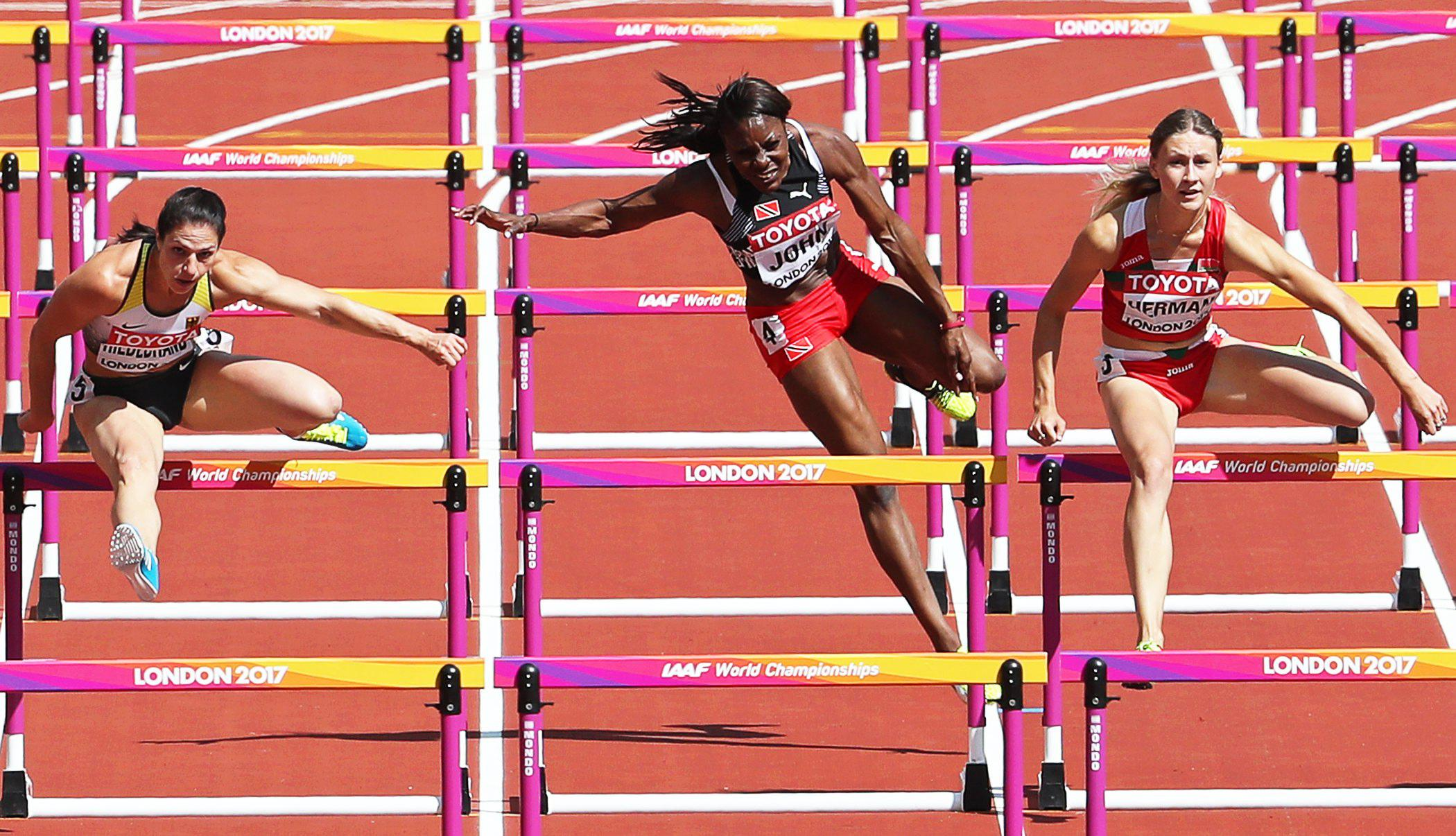 Trinidad and Tobago ace Deborah John hit a hurdle and stayed down after falling