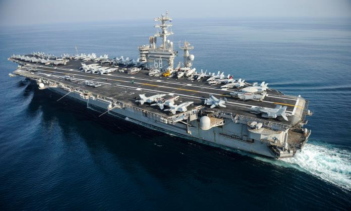 The drone was reportedly shadowing the USS Nimitz aircraft carrier, pictured
