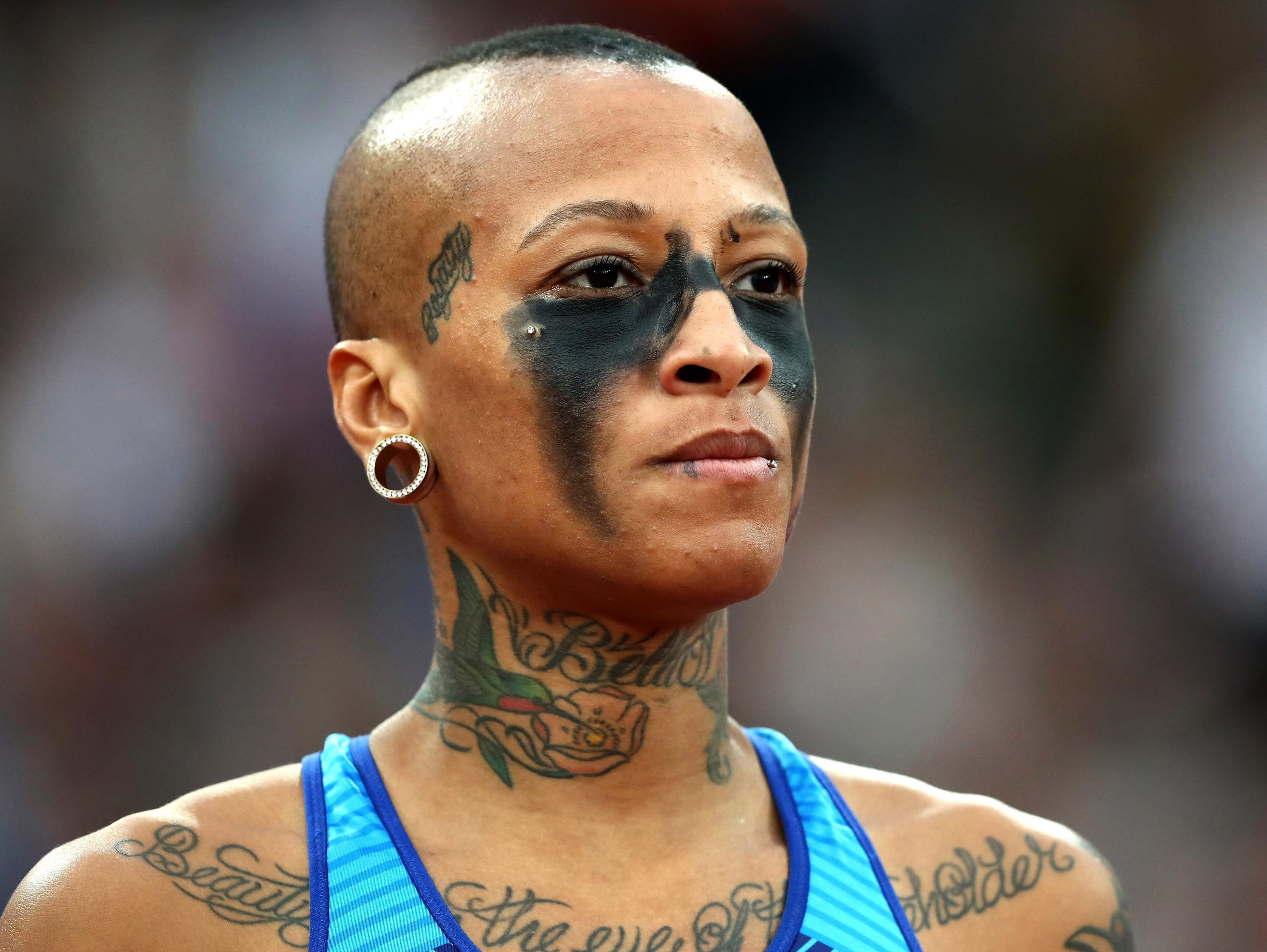 Inika McPherson sported eye make-up during the high jump final