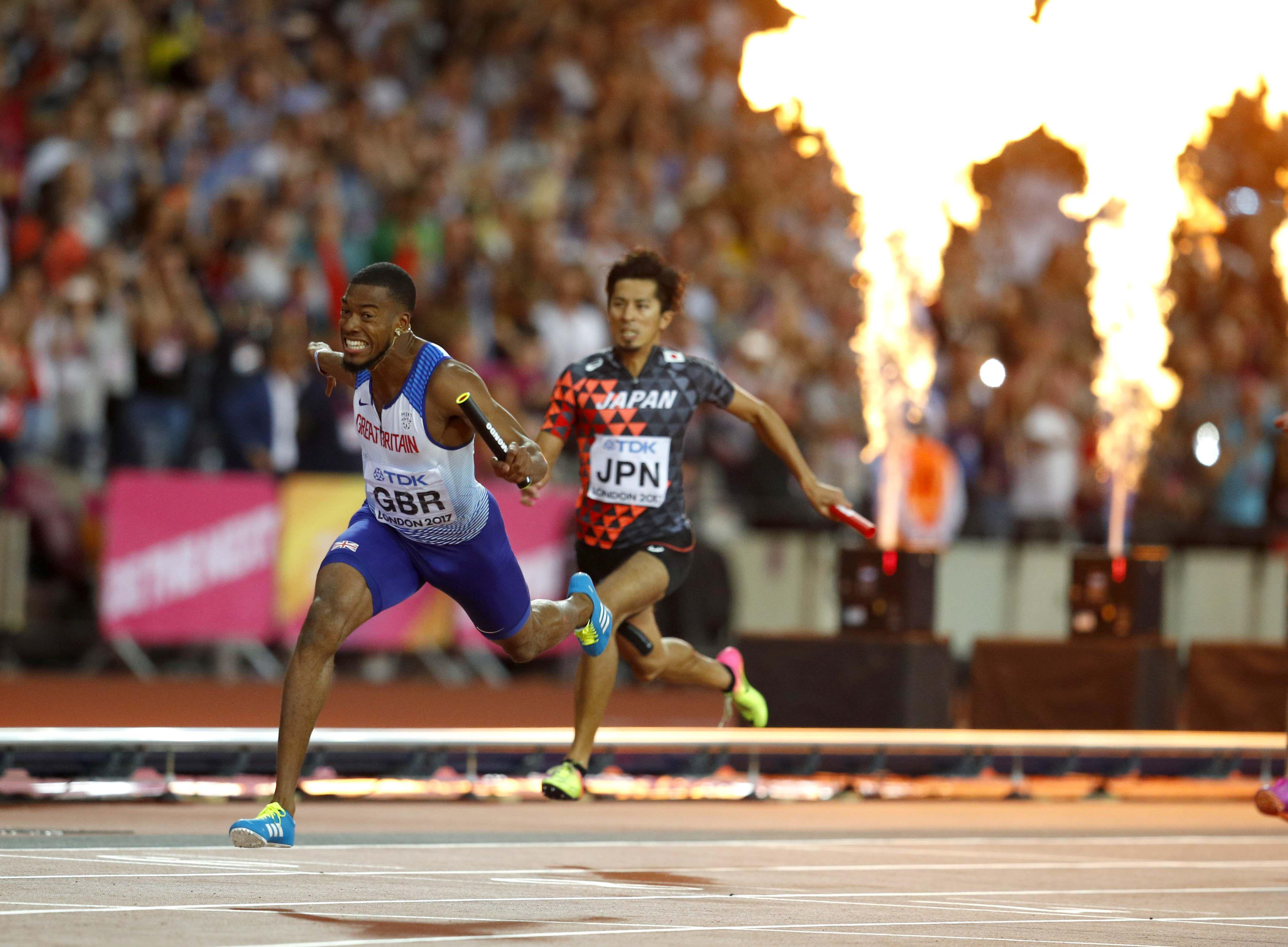Nathaneel Mitchell-Blake roars to victory as GB claim a shock 4x100m relay gold