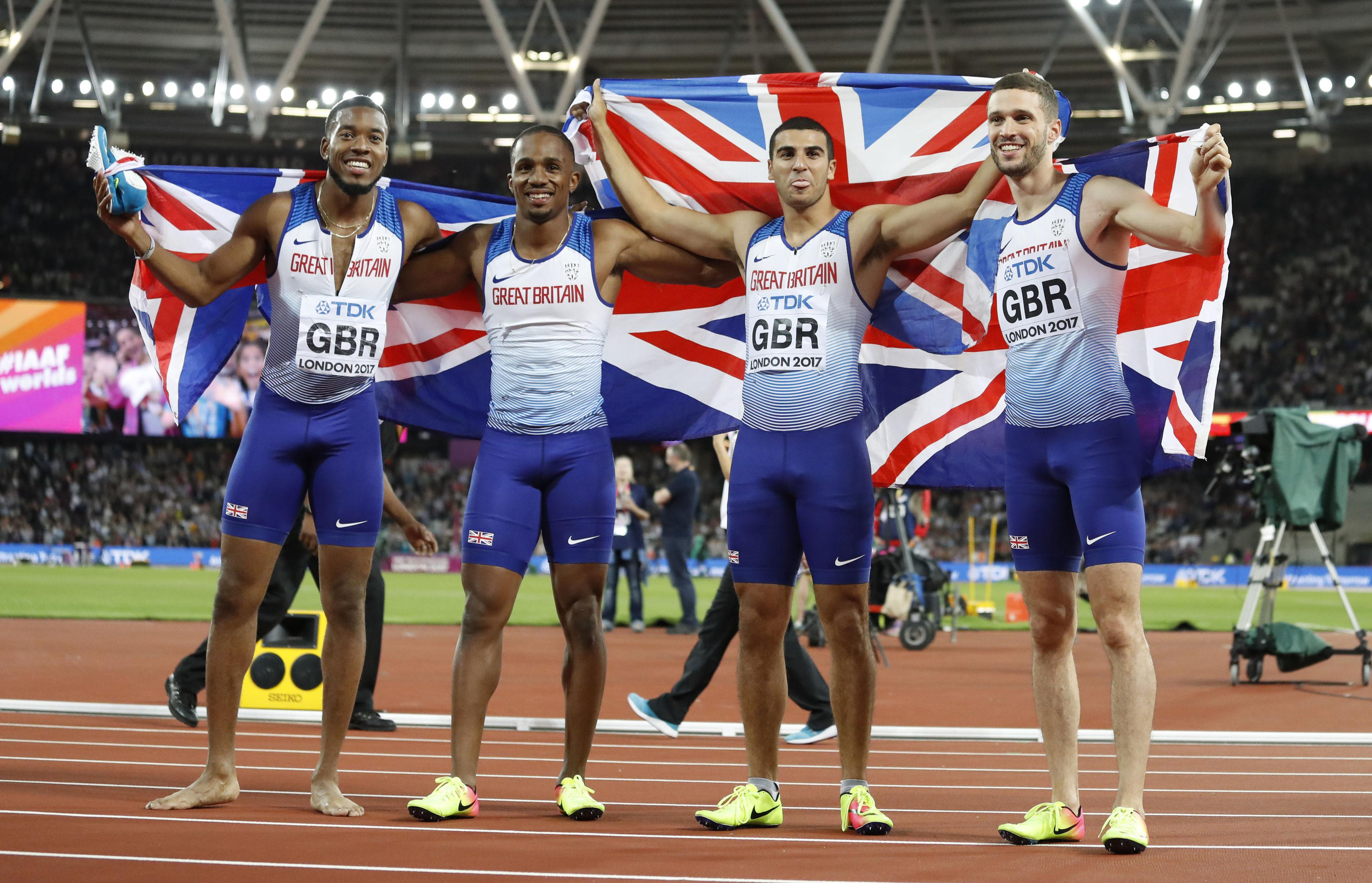 The Great Britain relay team of Nathaneel Mitchell-Blake, CJ Ujah, Adam Gemili and Danny Talbot celebrate world championship gold