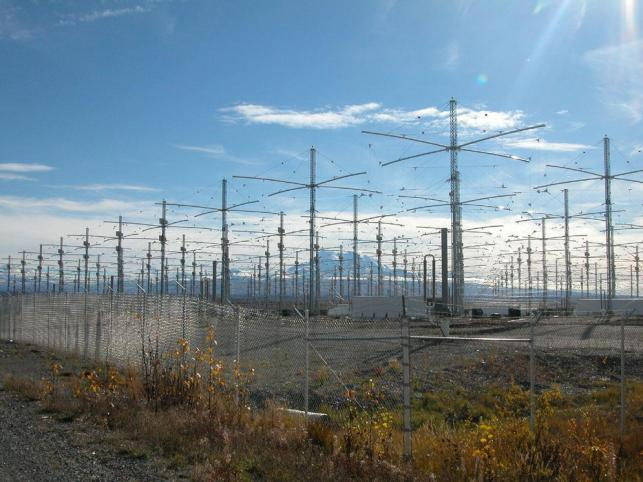 A rare picture showing HAARP'S antennae field at a remote US Air Force base in Alaska
