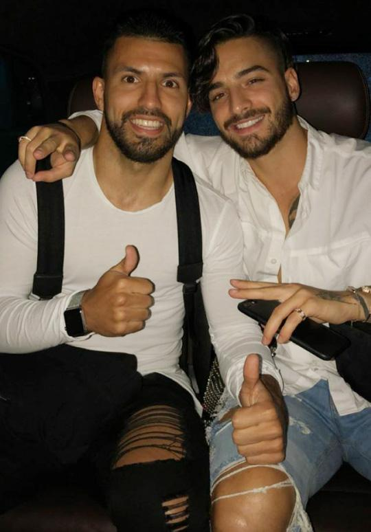 Aguero's was in the Netherlands to see one of his favourite artists Maluma - here he is pictured with the Colombian pop star