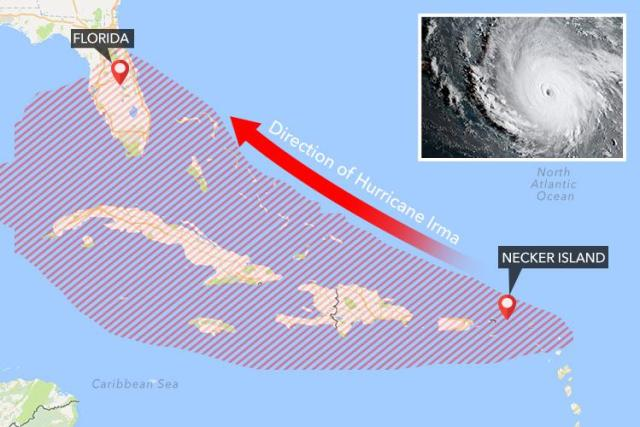 The eye of the category five hurricane is heading straight for Necker Island