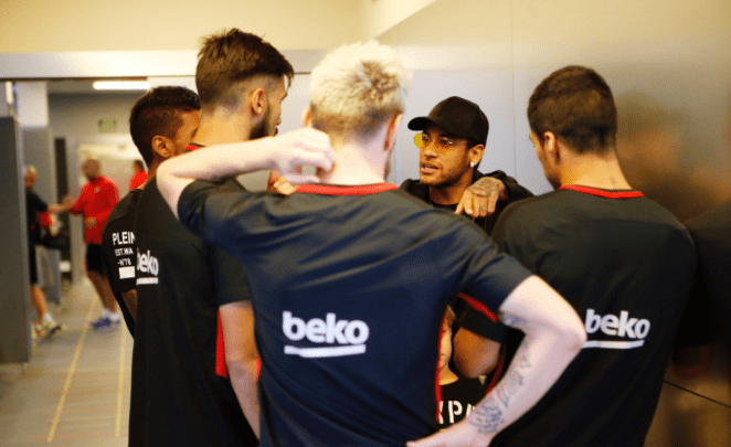 Barcelona also shared an image of Neymar back at the Nou Camp club