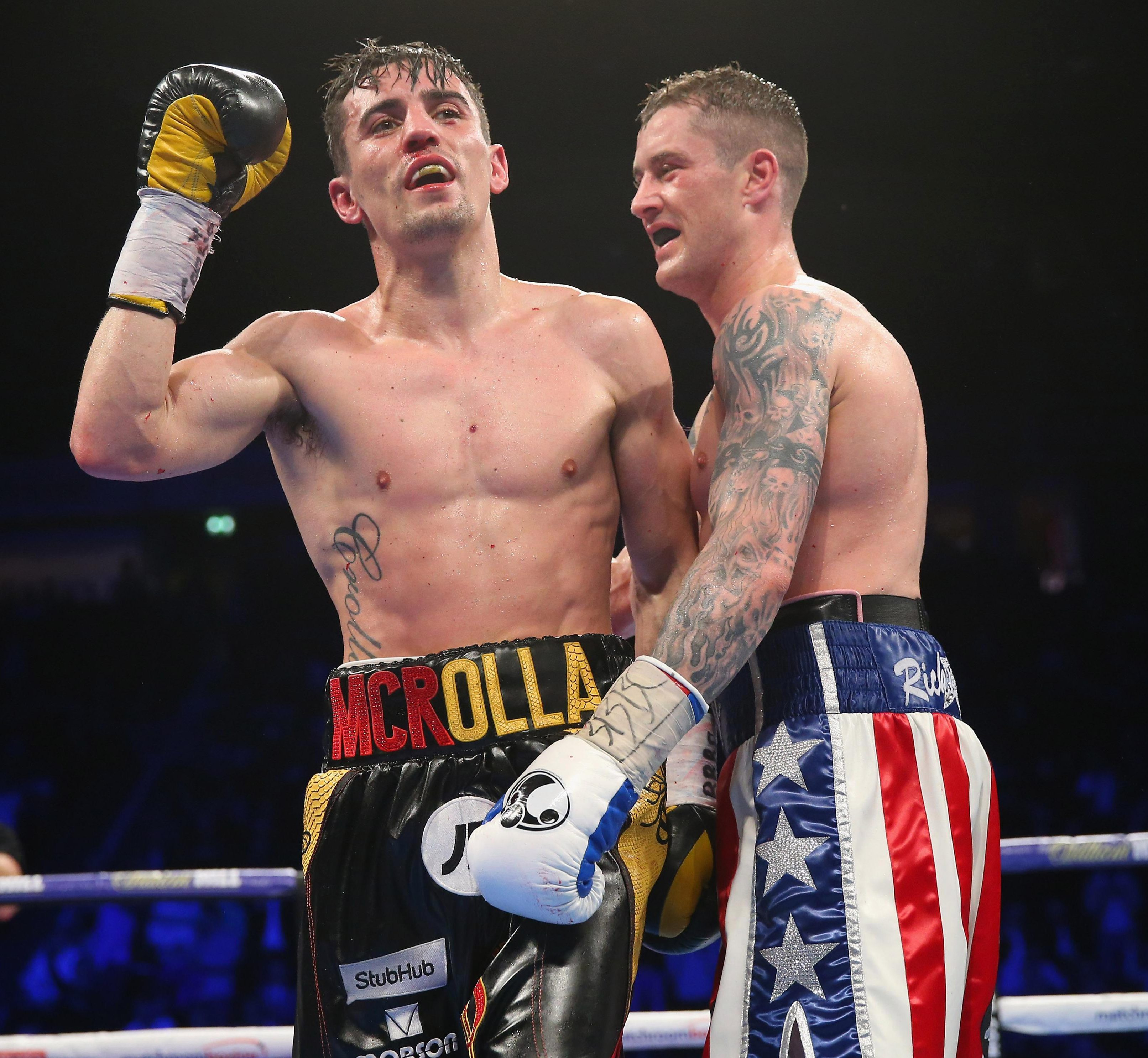 Anthony Crolla celebrates an absorbing win over veteran Ricky Burns