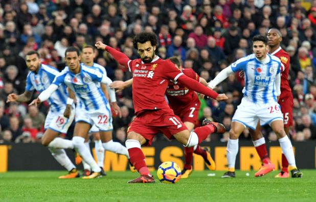 Mohamed Salah missed a penalty for Liverpool in the first half