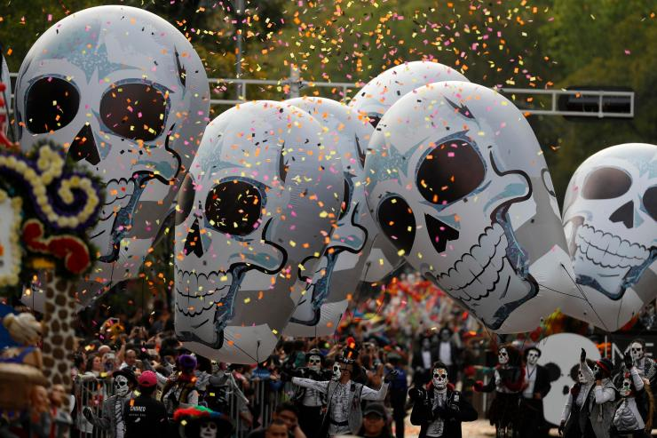 These giant animated skulls are called calaveras, and their mini counterparts are also popular made out of sugar