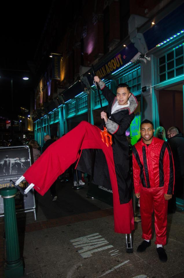 Impressive costumes saw a man using stilts to make a statement
