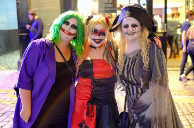 People grinned for photos on their night out - with the smiles even bigger on the Joker's face