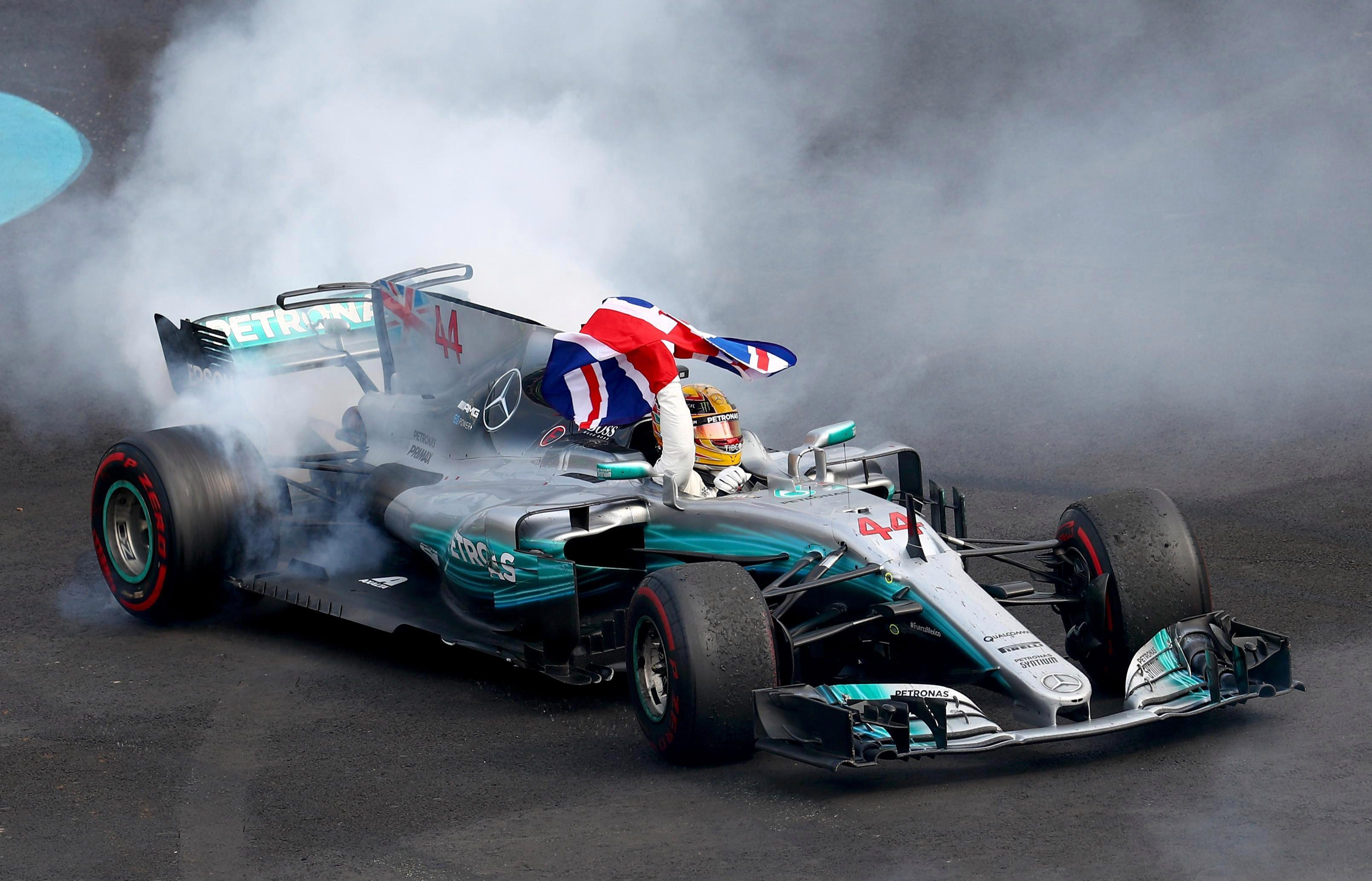 Hamilton did his trademark donuts after sealing victory