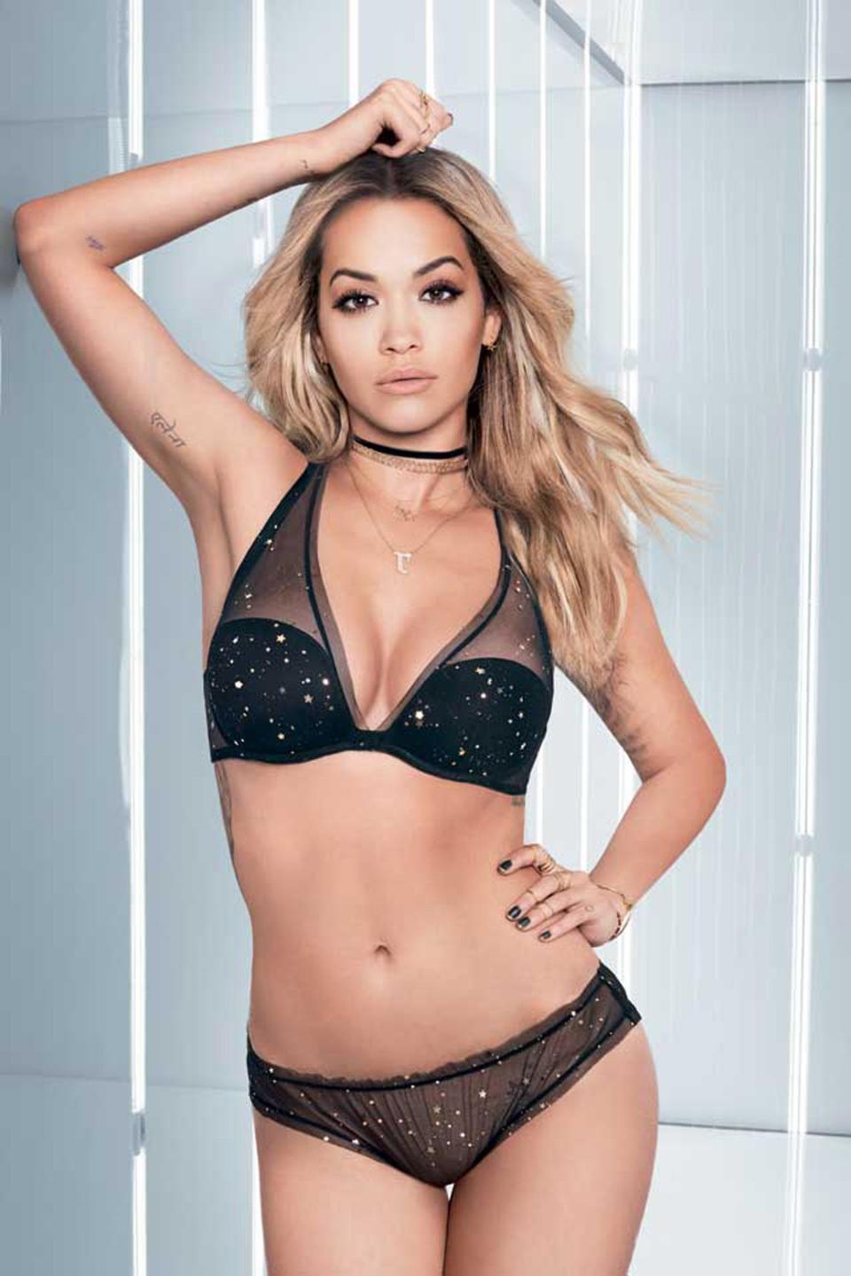 Rira Ora dazzles in a sparkly lingerie in new campaign shots for Italian brand Tezenis