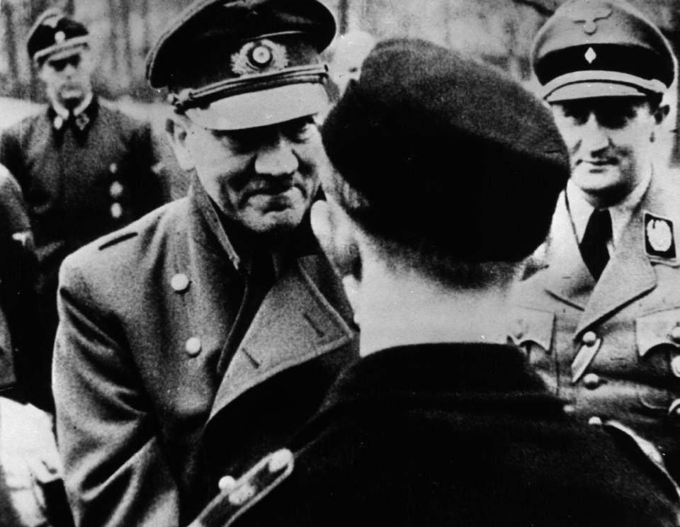 This is believed to be one of the last photographs taken of Hitler before he committed suicide with Red Army troops approaching his Berlin bunker