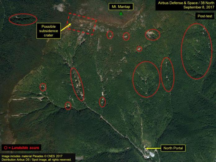 Satellite images show Mount Mantap pock-marked with craters from landslides after the last nuclear test
